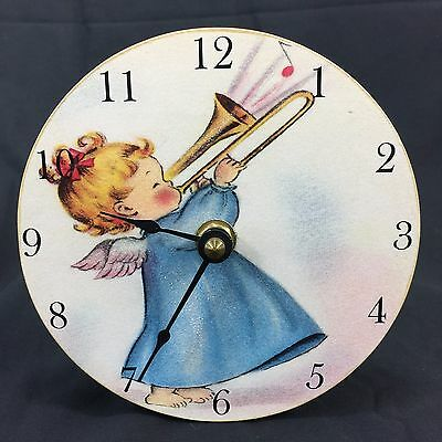 "Baby Nursery Clock Handmade from Kumquat Artists Gallery San Francisco 4.75"" h"