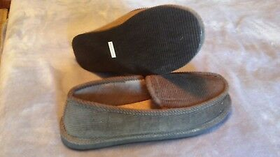 New Mens House Slippers Gray Corduroy Moccasin Slip-on Men Shoes Size 11