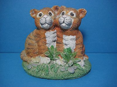 Two Tiger Cubs Hand painted Figurines