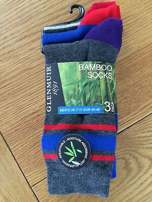 Glenmuir 3 Pack Socks- Bamboo- Size 7-11 New And A Perfect Gift