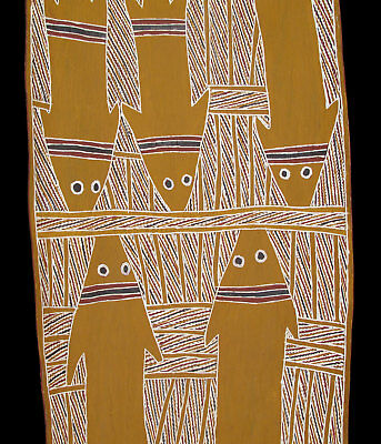 Old Aboriginal bark painting by Mowarra from Yirrkala