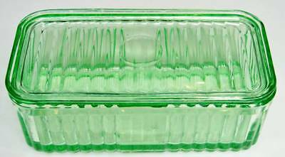 Vintage Green Depression Glass Ribbed Bread Container With Lid