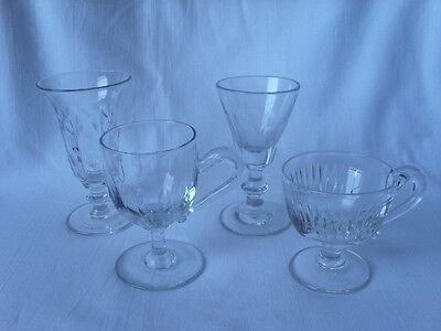 Antique 4 CLEAR GLASS Custard Jelly Ale LENS CUT Cordial LOT Hand made CUP