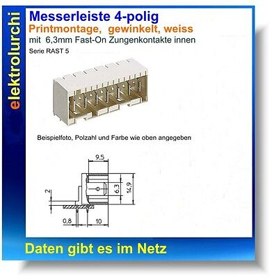 Messerleiste 4-polig 6,3mm Fast-On , gewinkelt, Lumberg Rast5.,Print, RM5mm,1St.