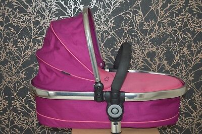 Icandy Peach 3 Twin Blossom Lower Fuchsia Pink Carrycot Travel Cot + Bumper Bar