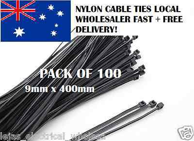 Nylon Cable Ties UV PROTECTED Electrical ties  9 mm x  400 mm Pack of 100 black