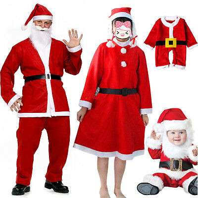 Christmas Santa Claus Suit Adult Kid Costume Cosplay Fancy Dress Clothes Outfit