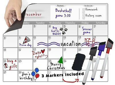 Magnetic Board Dry Erase Calendar Fridge Monthly Whiteboard Organizer Markers