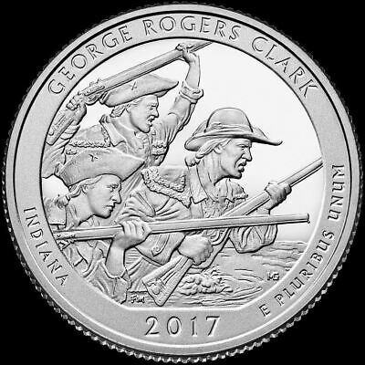 "2017 P George Rogers Clark National Park Quarter Indiana ""BU"" ATB"
