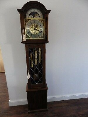 Amazing 3 Tune Moon Rolling Weight Driven Grand Mother Clock By Fen Clocks 1970s