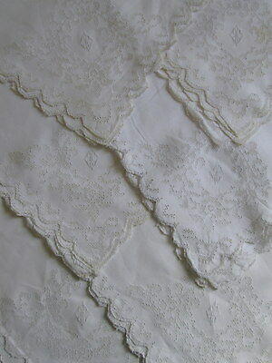 ANTIQUE NAPKINS PUNCHWORK MOSAIC LACE Set 6 White Linen Triple Monogram Vtg 23""