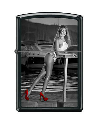 "Zippo ""Red Shoes-Sexy Woman on Dock"" Lighter, Black Matte, 3763"
