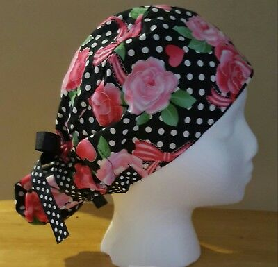 Pink Roses Ribbons Hearts Ponytail Surgical Scrub Hat/Cap Womens Handmade