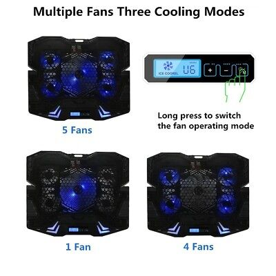 Cooling Laptop Pad USB Cooler Fan Multiple fan 3 Cooling Modes Adjustable HQ NEW