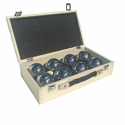 Premium Set of 8 Alloy Chrome Plated Boules Petanque in Wooden Case