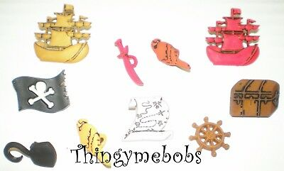 BG PIRATES Ship Wheel Flag Sword Map Parrot Hook Cornwall Novelty Craft Buttons