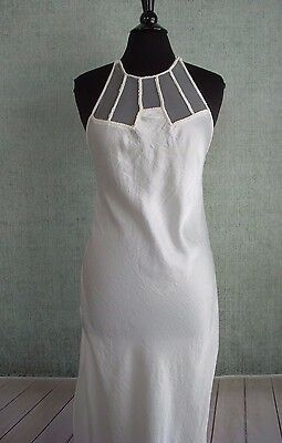 VICTORIAS SECRET 80s Vtg Gold Label Gown Embroidery Mesh Bridal White Small