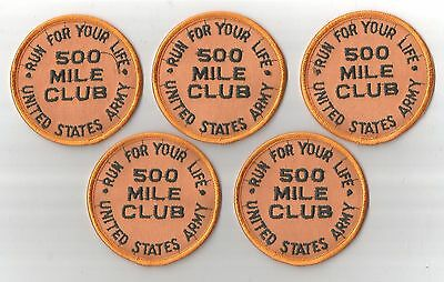 Lot Of 5 U.s. Army 500 Mile Run Patches(M/p 2424)