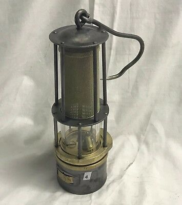 N°4 Wetterlampe Grubenlampe Brass Miners Safety Lamp Old Miners Lamps