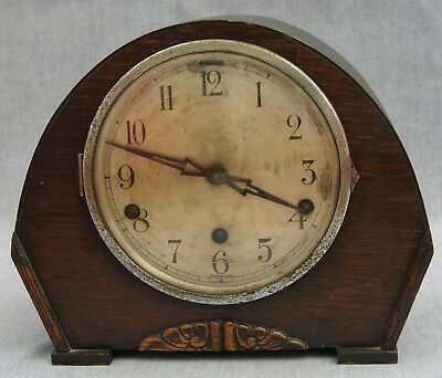 1915-25 Oak Cased Mantel Clock, Westminster Chimes, Silvered Dial, Parts or Rep