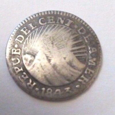 1843 Central American Republic - Guatemala Reales With Lion Counterstamp