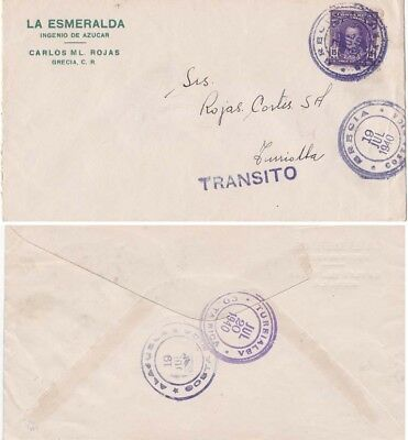 Costa Rica 1940 Cover fromGrecia with transit  cachet