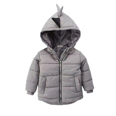 Boys Gray Puffed Winter Jacket Dinosaurs Spikes Hooded Coat Zip Up   Size 5