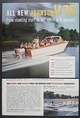 """1960 ALL NEW Johnson V-75 - """"From Start To Full Speed In 8 Seconds!"""" ( PRINT AD)"""