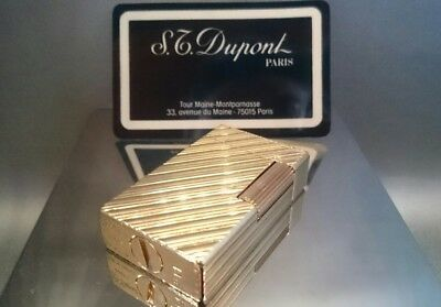 St Dupont Paris France BS Lighter Briquet Feuerzeug l1 ولاعة . gold plate