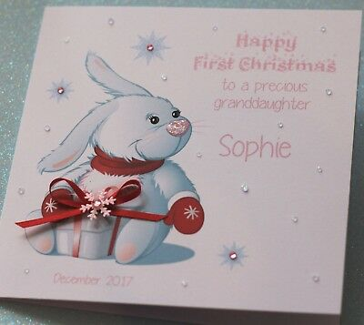 Handmade Personalised CUTE BUNNY 1ST CHRISTMAS Card for girls 6X6
