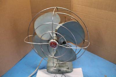 VTG 1950's GE General Electric 2 Speed Oscillating Desk Fan Gray PARTS OR REPAIR