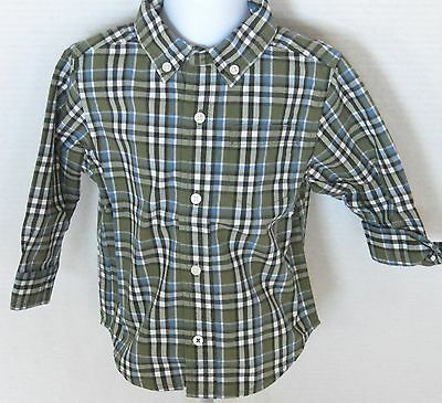 Gymboree Boy's Dinosaur Tracker Olive Plaid Button Down Shirt Size 3-6 Months