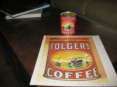 Vintage Folger'S Coffee Puzzle In Original Can, Advertisment