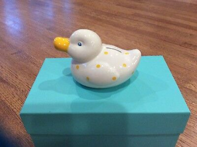 Tiffany & Co. Ceramic Ducky Bank Duck Piggy Bank White with yellow spots dots