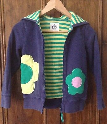 Girls Mini Boden 9-10y Blue Flower Appliqué Hooded Jacket Hoodie VGC