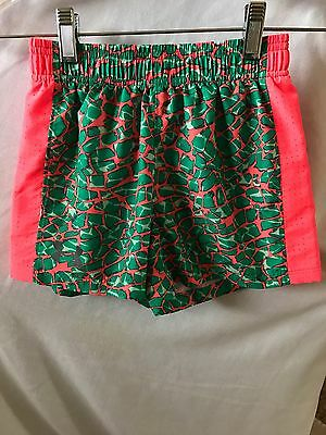 EUC Girl's UNDER ARMOUR Athletic Loose Shorts Bright Orange/Green Leopard Small