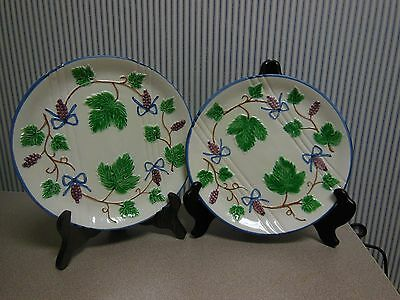 Pair of Vintage Hand Painted Japanese Majolica Plates