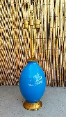 1920's Art Deco Boch Freres La Louviere Blue Turquoise Glazed Crackle Vase Lamp