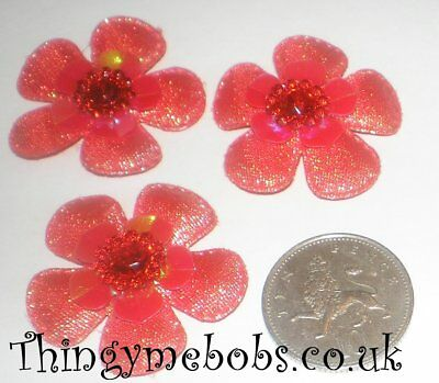 3 BEAUTIFUL 35mm RED PADDED/LAYERED FLOWERS/EMBELLISHMENTS - CRAFTS/SEWING