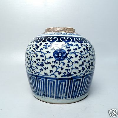 Estate Chinse Export Porcelain Blue & White Ginger Jar - PC