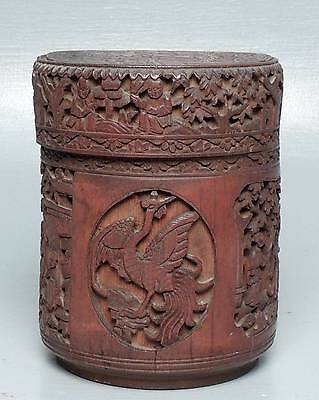 Old or Antique Carved Chinese Bamboo Tea Caddy Box 4 Repair - Bitong? Brush?  VR