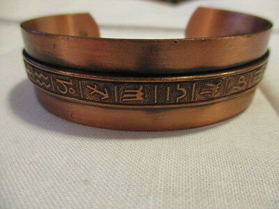 SOLID COPPER CUFF Bracelet with Southwestern & Zodiac Symbols thru the  Middle