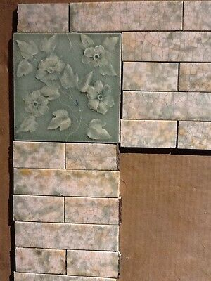 Complete Set Antique Vintage Fireplace Tile Tiles Victorian Sea Glass Green