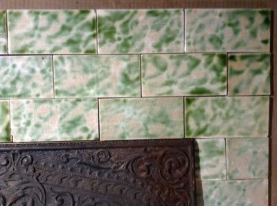 COMPLETE SET VINTAGE VICTORIAN ANTIQUE FIREPLACE TILE MANTLE SURROUND AET Green