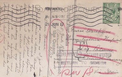 G.B 1917  ppc from Wandsworth to Las Palmas, Canary Islands {Below}
