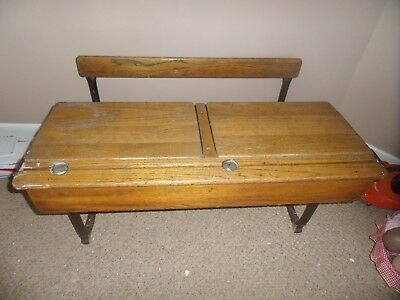 Original antique double school desk with integral fold up bench  good condition