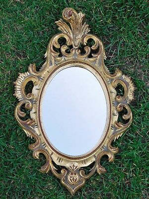 Miroir En Stuc Dore Sculpte  23Cmx35Cm Deco Chic Kitch Baroque