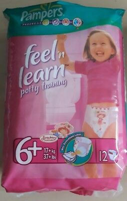 Pampers Feel N Learn Girls Size 6+ Potty Training Vintage Nappies Sealed pack