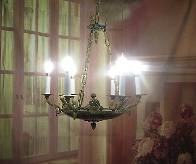 Antique Vintage Chandelier Bronze French Empire Neo Classic 6 Lt Chains Original