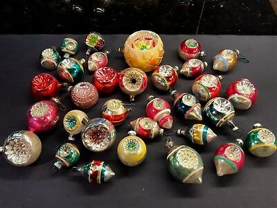 Large Lot of Vintage Double Indent Glass Christmas Ornaments
